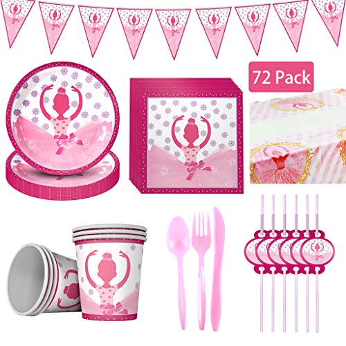 Review 72PCS Girl Birthday Disposable Tableware, DreamJ Girl Birthday Party Supplies with Girls Plat...