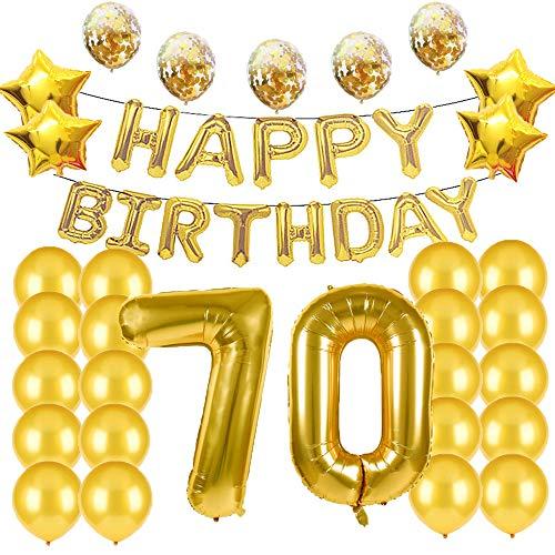 Suministros de decoración para fiestas de 70 cumpleaños, globos dorados, globos de...