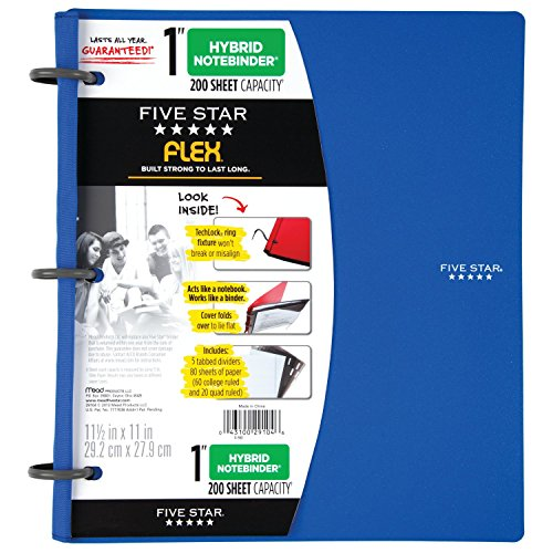 """Five Star Flex Hybrid NoteBinder, 1 Inch Binder with Tabs, Notebook and 3 Ring Binder All-in-One, Blue (72011), 11 1/2"""" x 10 1/2"""" x 1 1/4"""" Photo #6"""