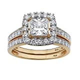 18K Yellow Gold over Sterling Silver Princess Cut Cubic Zirconia Halo Bridal Ring Set Size 8