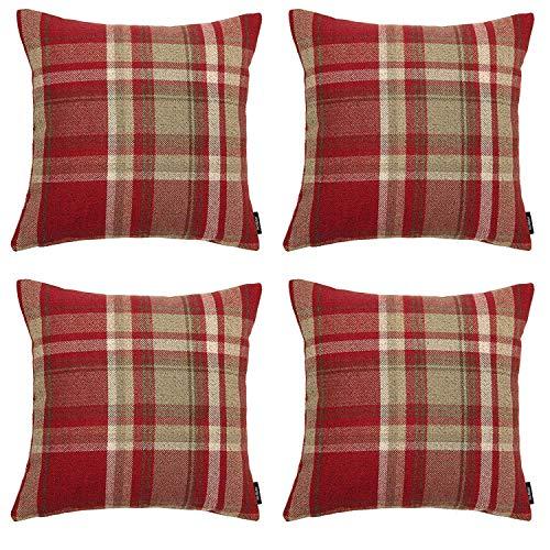 McAlister Textiles Heritage | 4er Pack Sofakissen mit Füllung im Karierten Tartan Muster | 40 x 40 cm in Rot | Deko-Kissen im zeitlosen Karomuster für Ihr Heim