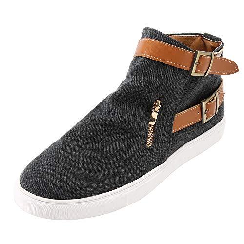 MYMYG Damen Chelsea Schuhe Ankle Boots Vintage Frauen Flache runde Kappe Segeltuchschuhe Bequeme Sohlen Reißverschluss einzelne Schuhe Leather Schlüpfen Stiefeletten