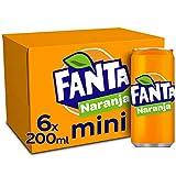 Fanta Naranja - Refresco con 8% de zumo de naranja, Bajo en calorías - Pack 6 mini latas 200 ml