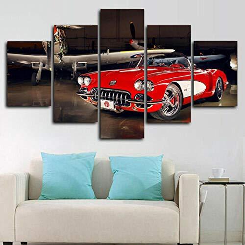 runtooer Bilder Dekorative malerei Spray malerei leinwand malerei 5 stück Chevrolet Corvette C1 Oldtimer Leinwand Wandbild, Möbel Art Deco, Rahmen