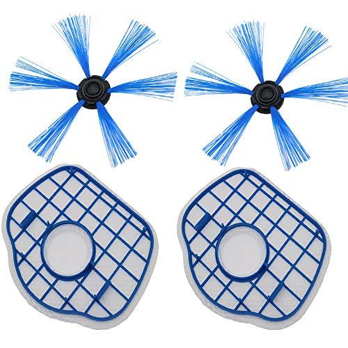 Louu 2 de Filtro HEPA + 2 Cepillo Lateral Robot Aspirador Filtros...
