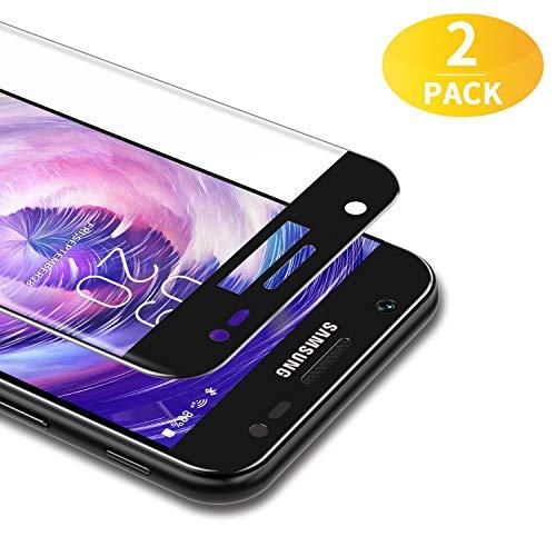 BANNIO 2 Stück für Panzerglas für Samsung Galaxy J3 2017,3D Full Sreen Panzerglasfolie Schutzfolie für Samsung Galaxy J3 2017,9H Festigkeit,Leicht Anzubringen,Vollständige Abdeckung,Schwarz