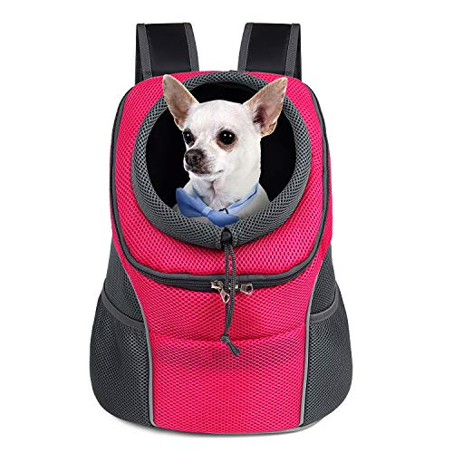 WOYYHO Pet Dog Carrier Backpack Puppy Dog Travel Carrier Front Pack Breathable Head-Out Backpack Carrier for Small Dogs Cats Rabbits(M(up to 10 lbs),...