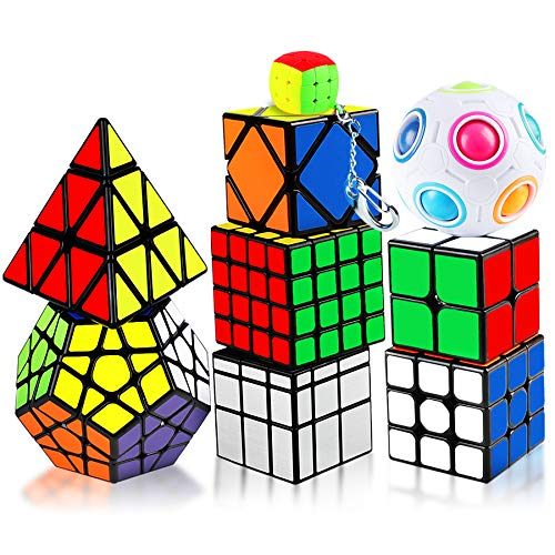KidsPark Zauberwürfel Set, 9 Stück Magic Speed Cube Set 2x2 3x3 4x4 Pyraminx Megaminx Mirror Skewb Magic Ball Mini Puzzle Würfel, PVC Aufkleber Magic Cubes Speed Puzzle Cube für Kinder & Erwachsene