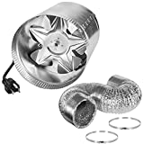 iPower 6 Inch 240 CFM Booster Fan Inline Vent Blower with Intake 5.5' Grounded Power Cord, 8 Feet Non-Insulated Flex Air Aluminum Ducting with 2 Clamps, Low Noise for Grow Tent HVAC Exhaust
