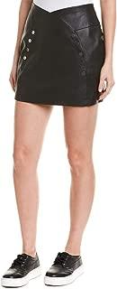 Women's Pleather Button Front Mini Skirt