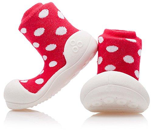 Attipas - ergonomische Baby Lauflernschuhe mit Baumwolle (Polka Dot, 21,5) | Kinder Barfußschuhe, Hausschuhe | Weiche, rutschfeste Sohle