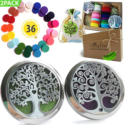 Essential Oil Car Diffuser Aromatherapy - 35mm Vent Clip Diffuser Locket 2Pcs Hypoallergenic Stainless Steel Desk, Yoga, Travel Nontoxic EcoFriendly Oils All Natural EO Air Freshener Gift Set 36 Pads