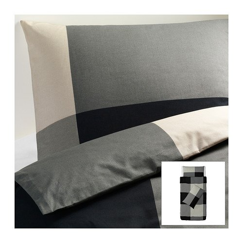 IKEA BRUNKRISSLA -Bettbezug und 2 Kissenbezüge schwarz grau - 150x200/50x80 cm