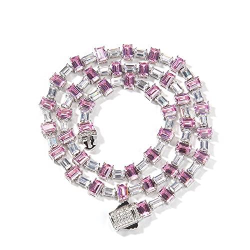 Fantex Melange Fancy Pink Baguette Diamond Drill cadena con collar de cierre de resorte con hielo, chapado en oro de 18 quilates, elegante joyería de hip hop para hombres y mujeres