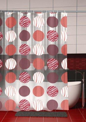 wohnideenshop Duschvorhang Kreise Punkte mit Verzierung 180cm breit x 180cm lang transparent rot weiß Vinyl + Ringe