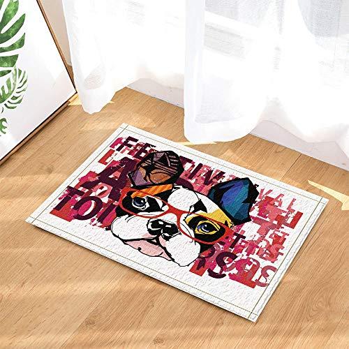 Retrato Bulldog Francés con gafas de sol Felpudo antideslizante interior, alfombrilla de baño, lavable 45 x 75 cm, decoración del hogar