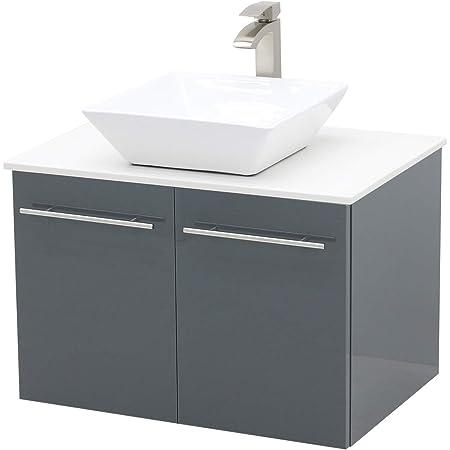 Windbay Wall Mount Floating Bathroom Vanity Sink Set High Gloss Dark Grey Vanity White Flat Stone Countertop Ceramic Sink 30 Amazon Com