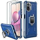 Milomdoi [3 Articulos] 1 Funda +2 Packs Cristal Templado para Xiaomi Redmi Note 10 4G/Note 10S, [Grado Militar Anti-Caída] Soporte Giratorio de 360°Grados con Anillo Dedo TPU Silicona-Azul