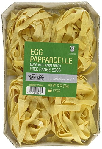 San Remo Italian Egg Pappardelle Pasta - Non-Gmo, Free Range Egg Traditional Pappardelle - 10 Oz (Pack Of 1) - Product Of Italy