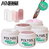 *AcrylGel PolyGel SOFT TOUCH Basic Set* - UV/LED - ((Neue Formel, soft cremigl!!)) auch für Anfänger geeignet 5x5ml Clear, White, Rosa, Nude, Milky