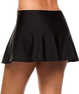 Cheryl Bull Nice Women's Solid Flare Skater Swim Skirt Bikini Swimsuit Bottom with Panty