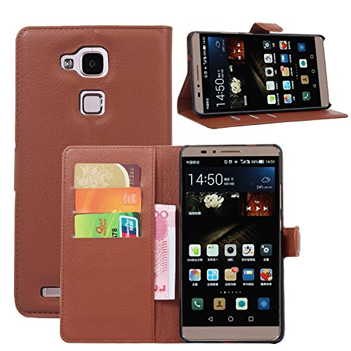 Huawei Ascend Mate 7 Case - Demomm(tm) Flip Pu Leather Wallet Case Holder Cover with Stand / Card Slot for Huawei Ascend Mate7 (Mate7-brown)