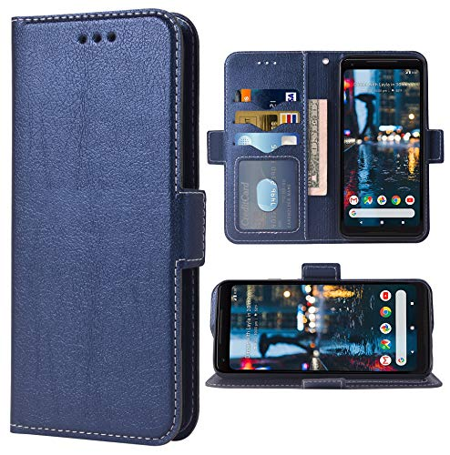 Phone Case for Google Pixel 2 Folio Flip Wallet Case,PU Leather Credit Card Holder Slots Full Body Protection Kickstand Hard Hybrid Protective Phone Cover for Pixel2 Pixle Two G011A Men Boy Dark Blue