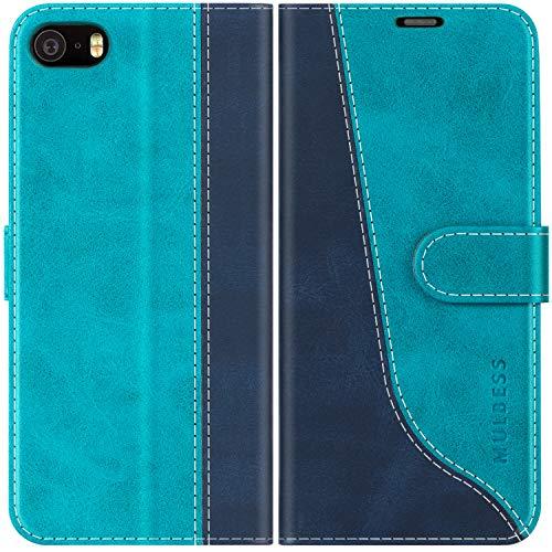 Mulbess Funda para iPhone 5S, Funda iPhone SE 2016, Funda iPhone 5, Funda con Tapa iPhone 5s, Funda iPhone 5S Libro, Funda Cartera para iPhone 5S Carcasa, Azul Mint