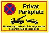 Schild Privat Parkplatz   Alu 30x20 cm   Unberechtigt parkende Fahrzeuge Werden kostenpflichtig...