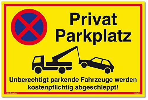 Schild Privat Parkplatz | Alu 30x20 cm | Unberechtigt parkende Fahrzeuge Werden kostenpflichtig abgeschleppt! gelb | stabiles Alu Schild UV-Schutz | Parkverbot | Privat Parkplatzschild | Dreifke®