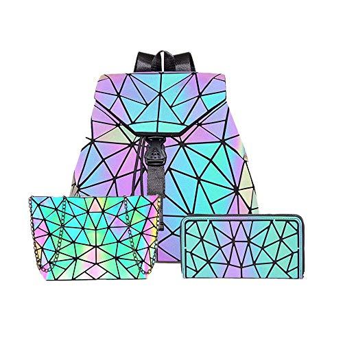 Hot One Farbänderungen Geometrische Leuchtende Geldbörsen und Handtaschen Holographic Purse Reflective Purse Fashion Rucksäcke (Nr.1+Messenger-Bags+Reißverschluss Brieftasche)