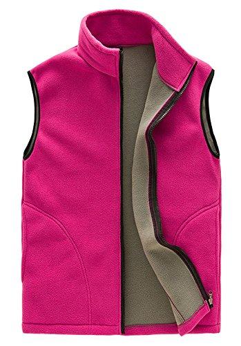 FEOYA Fleeceweste Damen Atmungsaktiv Fleece Outdoor Weste Softshellweste - Pink Größe M