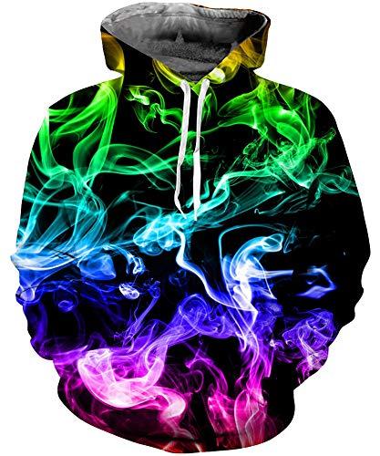 Goodstoworld 3D Druck Hoodie Farbiger Rauch Kapuzenpullover Herren Damen Pullover Kapuze Gedruckte Top Lässig Hoodie Sweatshirt L