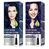 HJL Hair Color Permanent Hair Dye Ammonia Free with Comb Applicator Easy Use Hair Coloring Cream Kit, Blue Black, Dark Purple