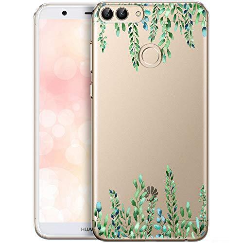 QULT Carcasa para Móvil Compatible con Funda Huawei P Smart 2017/Huawei Enjoy 7S Transparente Silicona Suave Bumper Teléfono Caso para Huawei P Smart 2017/Huawei Enjoy 7S con Dibujo Elegancia Verde