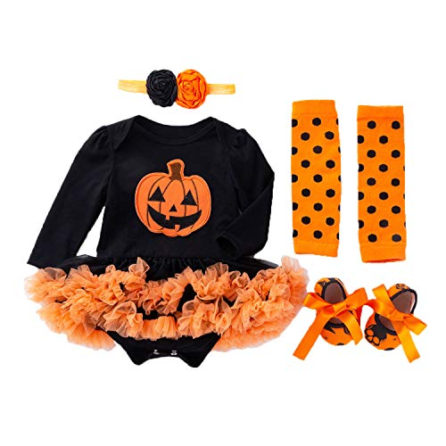 BabyPreg Mi Primer Traje de Halloween para nia Infantil Disfraz de Accin de Gracias Conjunto de Vestido de Calabaza para beb (9-12 Meses, Calabaza Larga)