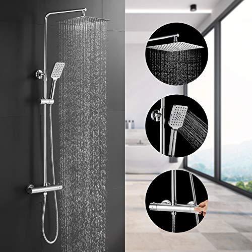 BONADE Duschsystem Thermostat Regendusche Edelstahl Duschset inkl. 10 zoll Duschbrause, Verstellbare Duschstange, Handbrause mit 3 Strahlarten, Duschsäule für Badzimmer