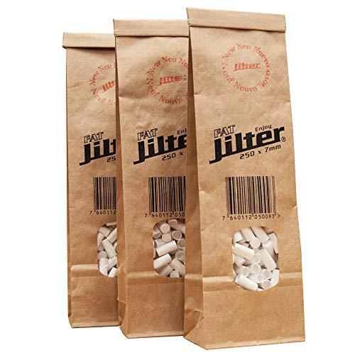 Jilter FAT Zigarettenfilter 250 Stück I Familienpackung FAT-Jilter im Biobeutel I Durchmesser 7 mm I aus Zellulose