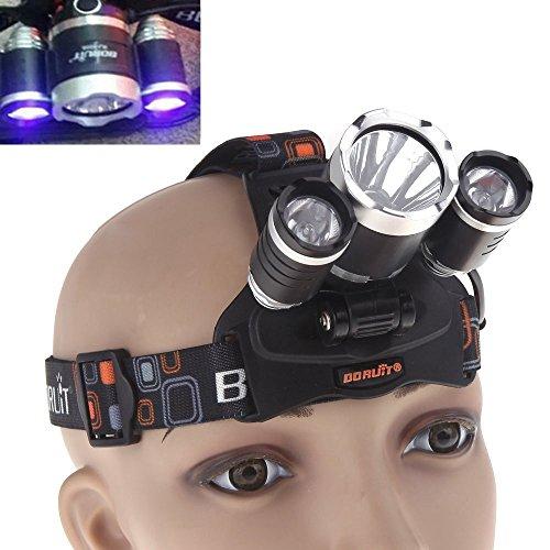 WindFire Scheinwerfer weiß UV Ultraviolett Led Licht 395-410nm UV Ultraviolett Led-Schwarzlicht-Taschenlampe Tactical-Scheinwerfer Kopf Lampe Taschenlampe mit Akku + Ladegerät
