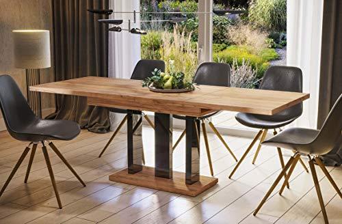 Endo-Moebel Esstisch Appia 130cm - 210cm erweiterbar ausziehbar Säulentisch Küchentisch (Eiche Craft Gold)