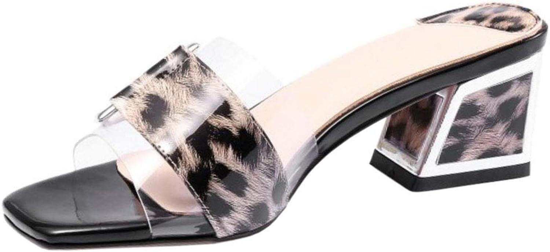 Melady Women Fashion Square Heels Summer shoes Transparent Slide Sandals