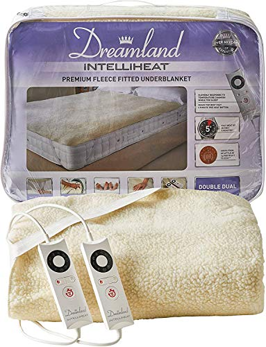 Dreamland Intelliheat fast heat up premium soft fleece electric underblanket king, electric blanket 160 x 150 cm, elasticated straps, 2 controls, 6 temperature settings and timer, extra foot warmth