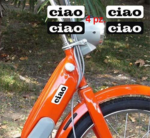 Kit Adesivi stickers compatibile PIAGGIO CIAO scritta logo moto decal cod. 1220 (BIANCO/NERO)
