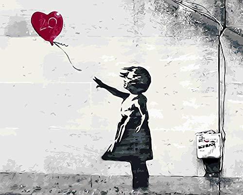 MBYWQ schilderen op cijfers rode ballonnen in de wind olieverfschilderij afbeelding van nummer digitaal picture kleuring met de hand uniek geschenk voor vrienden Home Decoration, Re D ballon (zonder lijst)