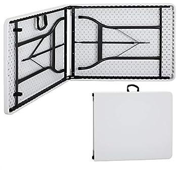 Monzana Table de Camping 76 x 183 cm Pliante Plastique Robuste Blanche Table de Jardin terrasse Buffet intérieur extérieur
