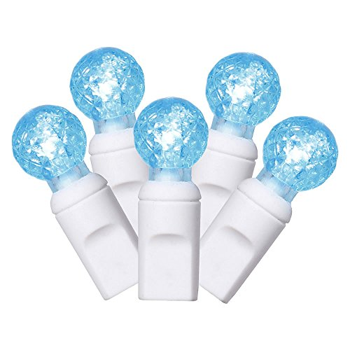 Vickerman X6W9532 Light Set Features 50 LED Lights on White Wire with 6' Bulb Spacing, 25', Teal