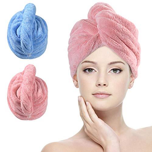 URAQT Turban Handtücher, Microfaser Handtuch Haare Schnell Trocknendes Handtuch mit Knopf, 2 Stück Dicker Mikrofaserhandtuch Kopfhandtuch Duschhaube Damen für Locken Lange Haare Alle Arten von Haaren