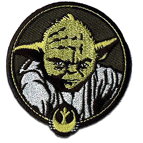 Aufnäher/Bügelbild - Star Wars 'Yoda 2' - schwarz - 7 x 6,5 cm - by Lucasfilm Ltd© & Disney© Patch Aufbügler Applikationen zum aufbügeln Applikation Patches Flicken