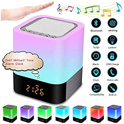 Night Light Speaker, Touch Bedside Lamp with Bluetooth Speaker, Portable Wireless Bluetooth Speaker, Only Military Time Alarm Clock, Touch Control Night Light,Gift for Kids Friends Party by Shen Zhen New Song Technology Co.,LTD