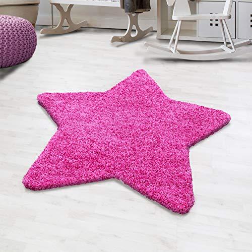 Hochflor Shaggy Teppich Uni Sternförmig Kinderteppich Jugendzimmer Sternteppich, Farbe:Pink, Größe:130 cm Stern